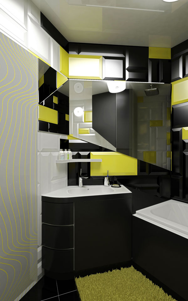 black bathroom design in contemporary apartment
