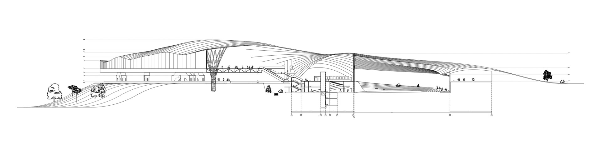 architectural section of transport hub