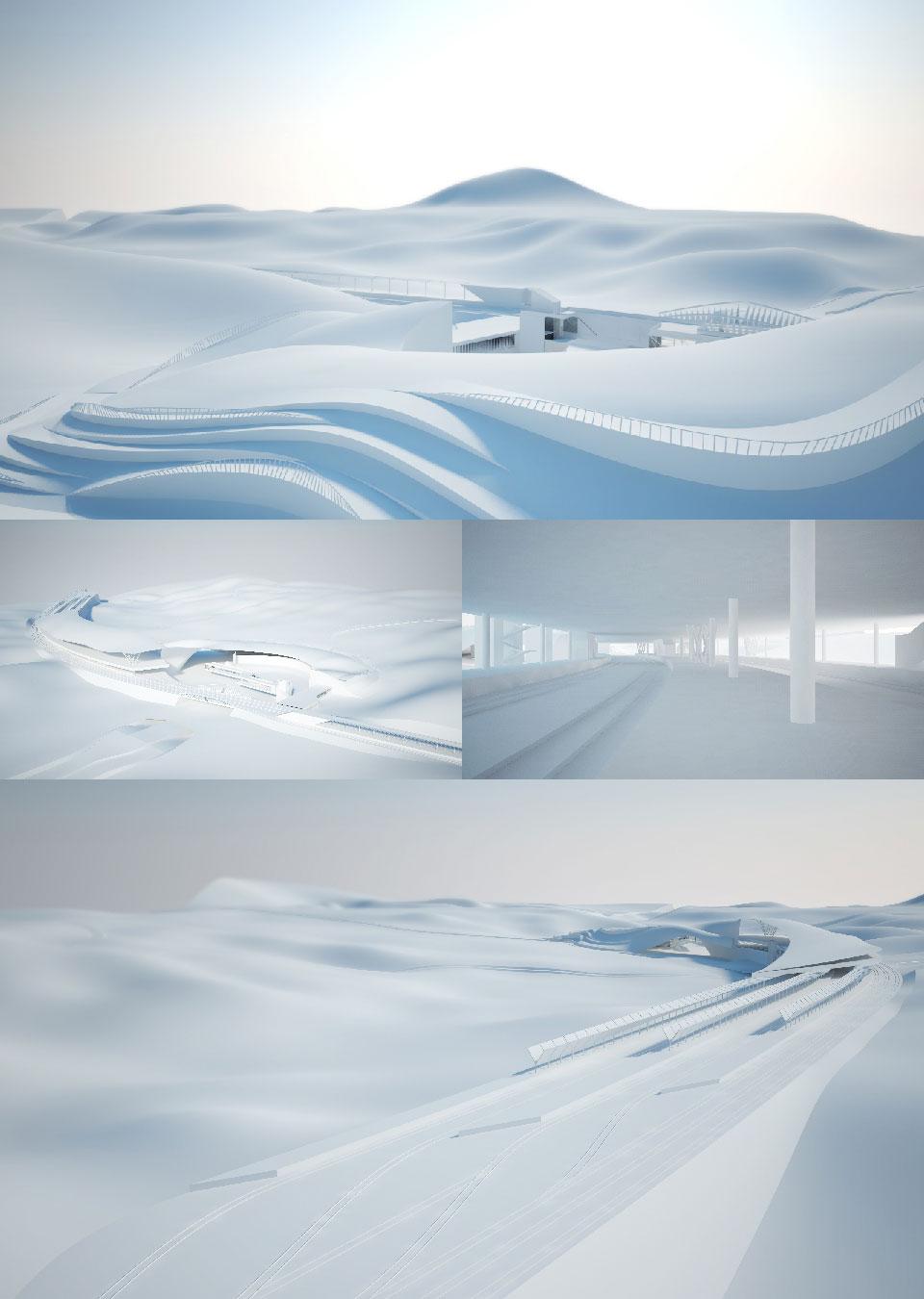 transport hub visualizations in white