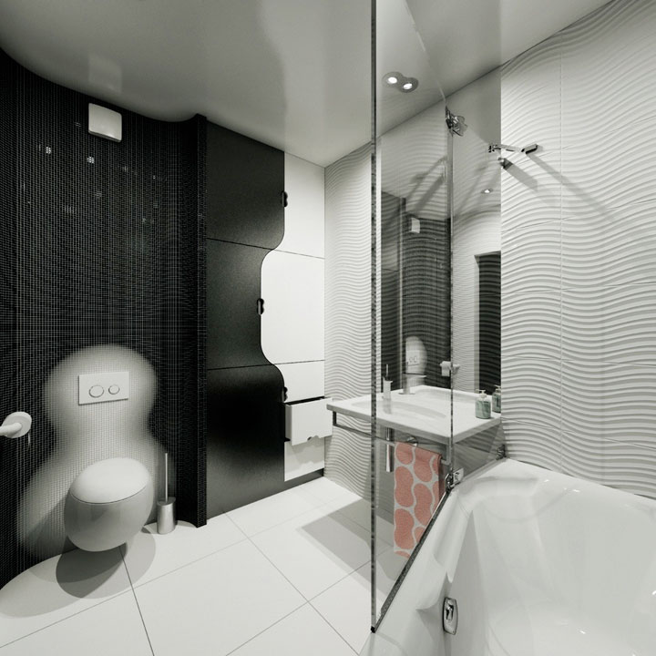 bathroom interior design - contemporary kyiv flat