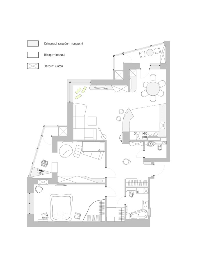 three room apartment redesign