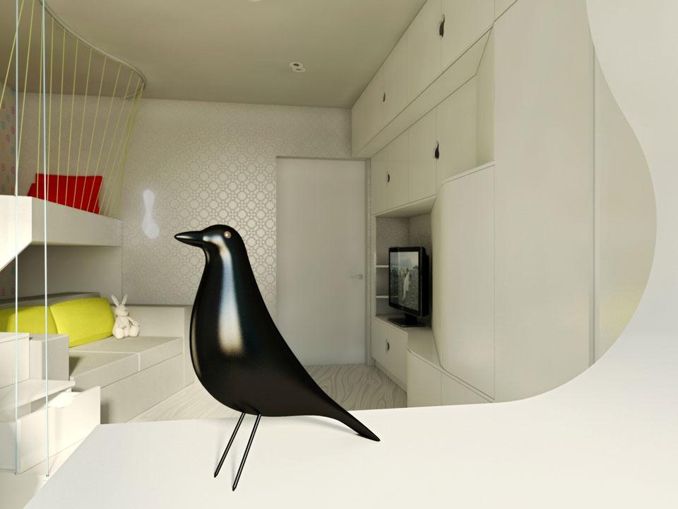 nursery interior design with vitra bird