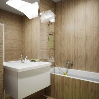 wood tile in bathroom interior