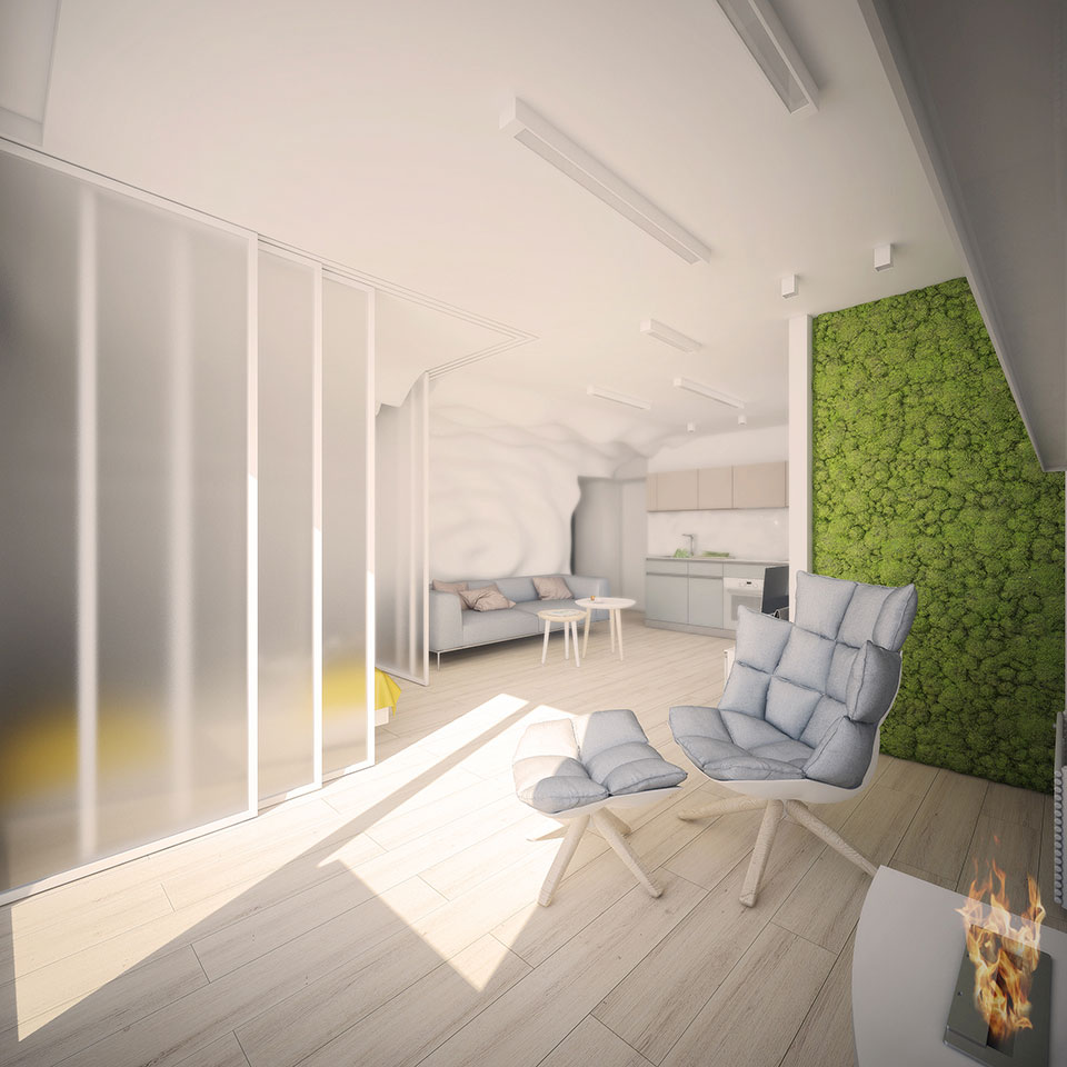 apartment design kyiv - open space interior