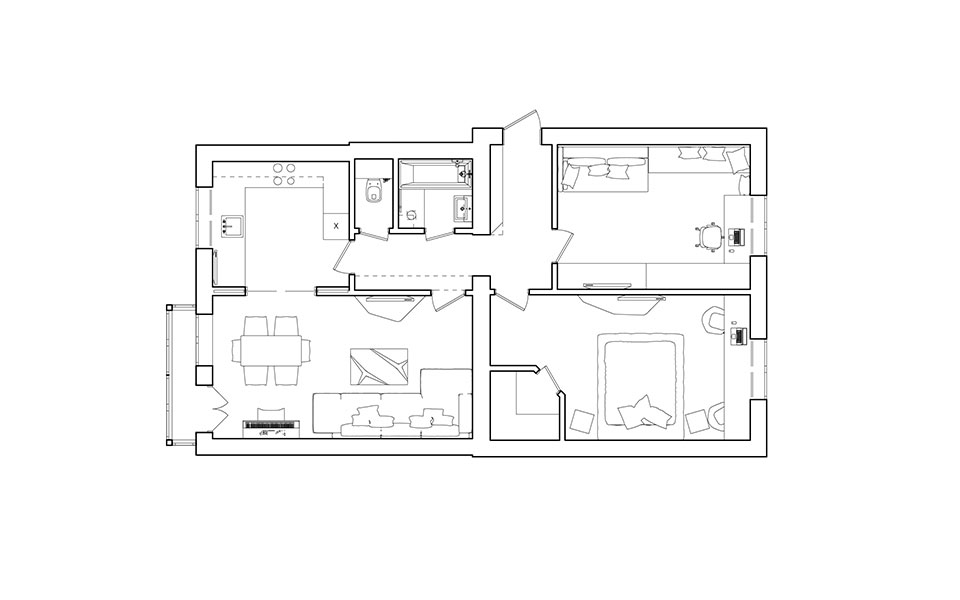 moscow flat interior - plan with furniture