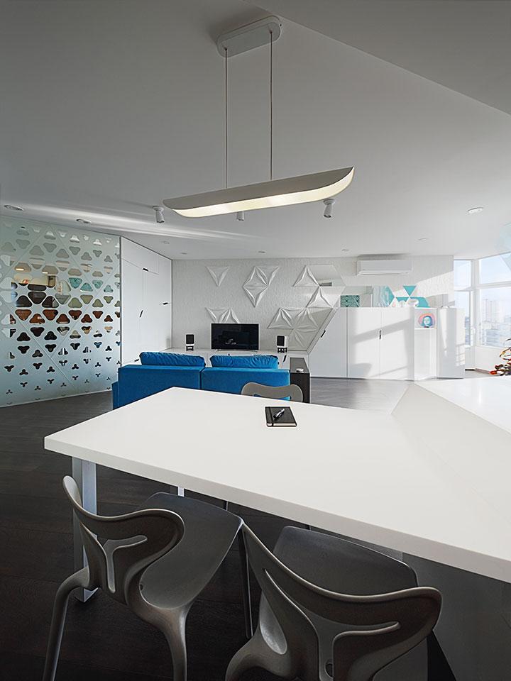 modern kitchen island in an open space