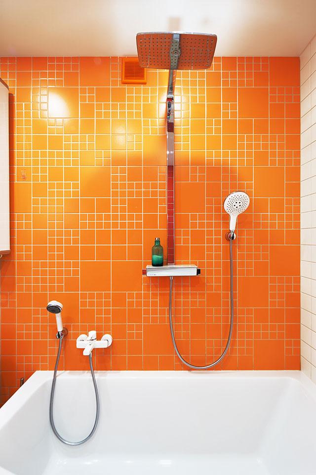 bathroom modern interior design orange color
