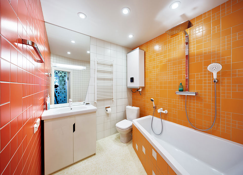fractal pattern in contemporary bathroom interior