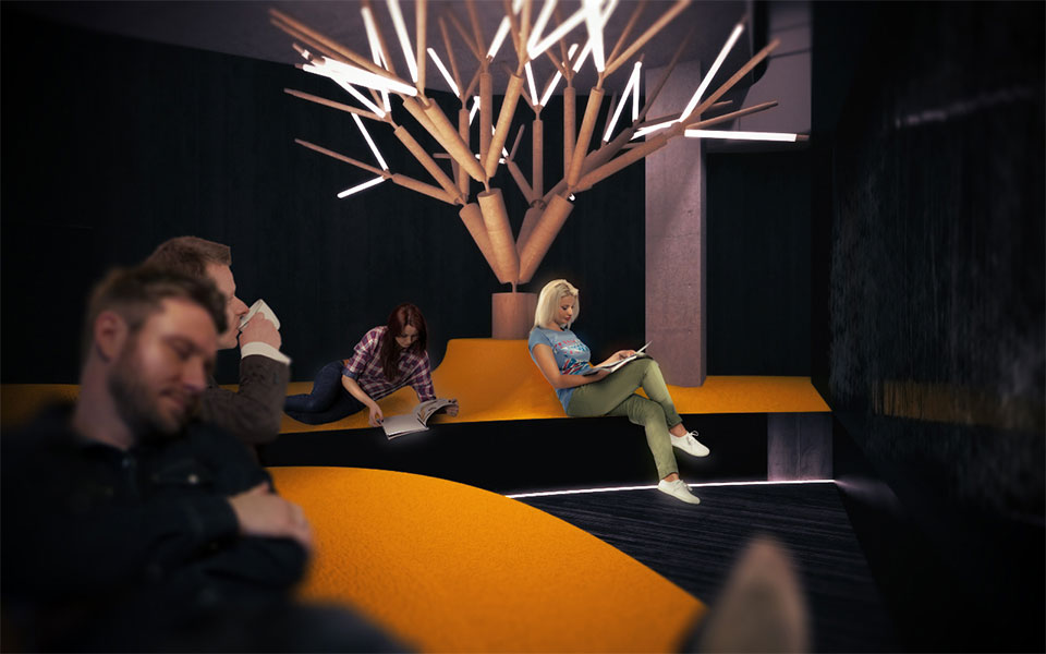 relax zone with artificial trees