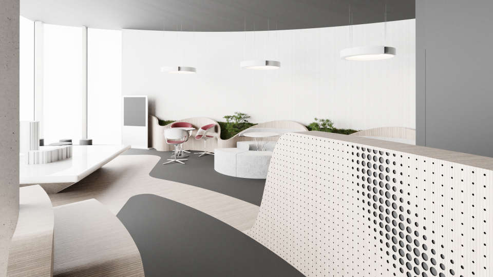 interior of of apartment's sales office for enso