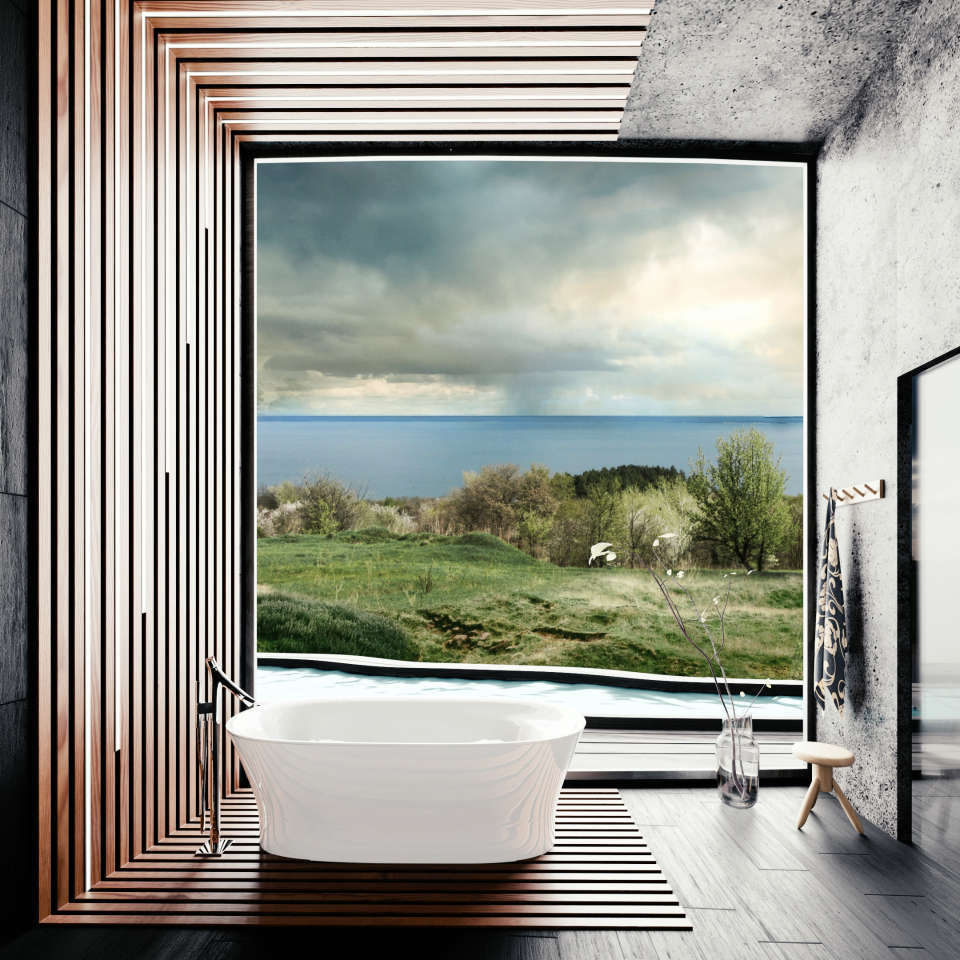 bath with stunning view architecture