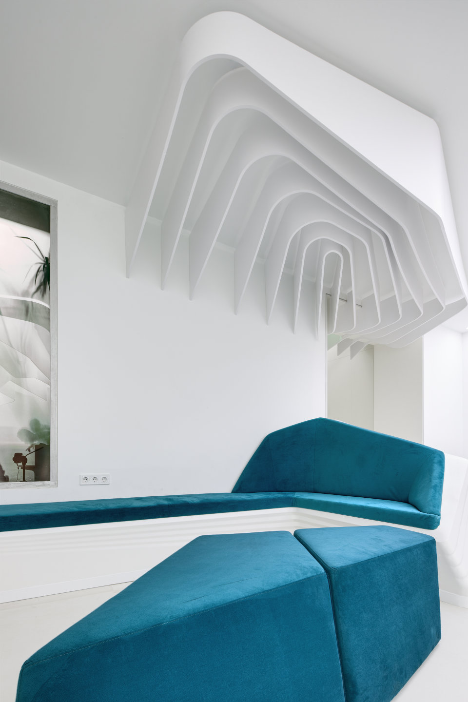 modern sofa and ceiling desiign in office hall