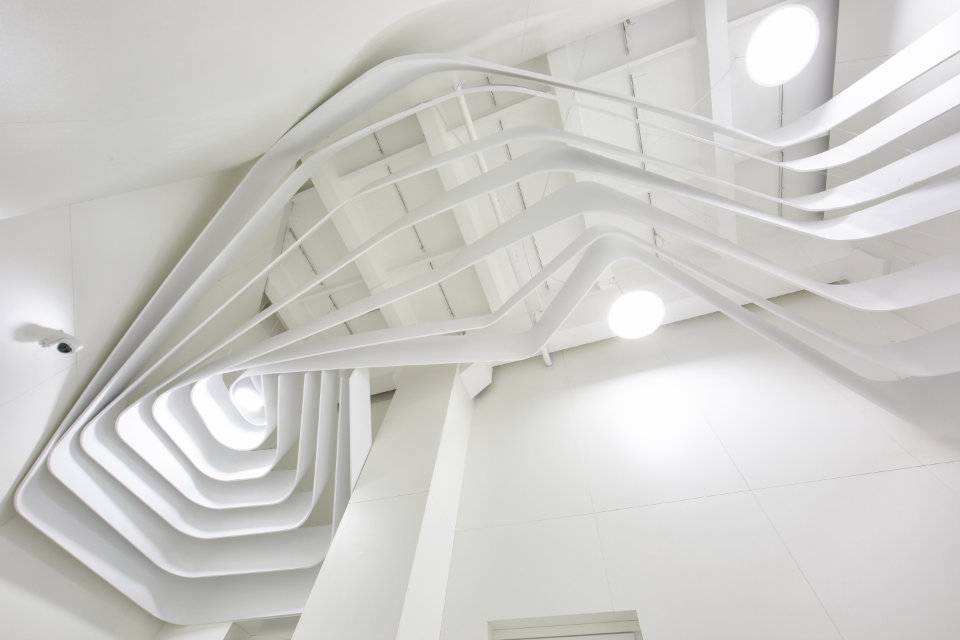 parametric ceiling out of pvc bends
