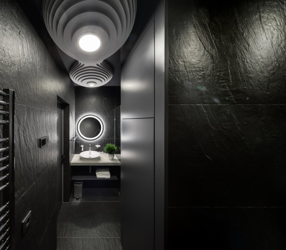 black octopus bathroom design