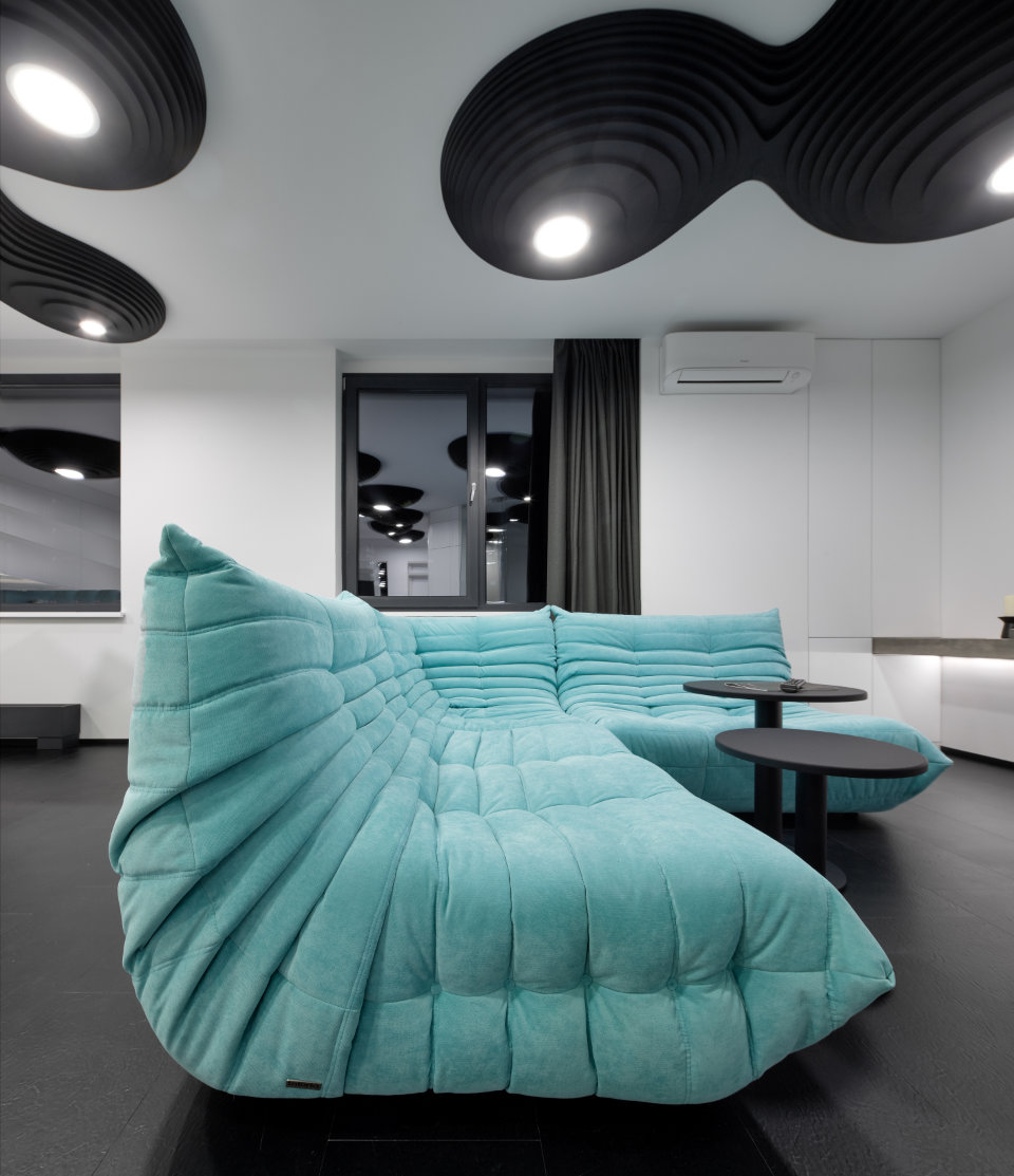 turquoise couch in parametric interior design