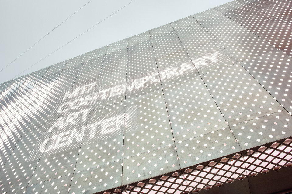 parametric facade with galvanized perforated panels