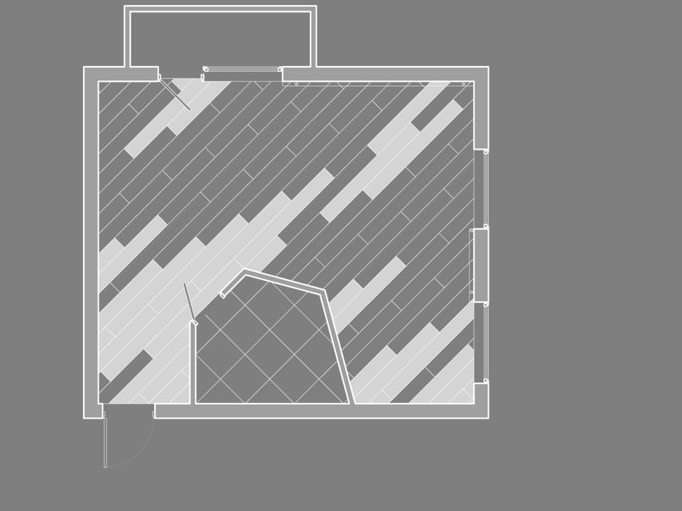 план-чертеж раскладки пола (паркет)