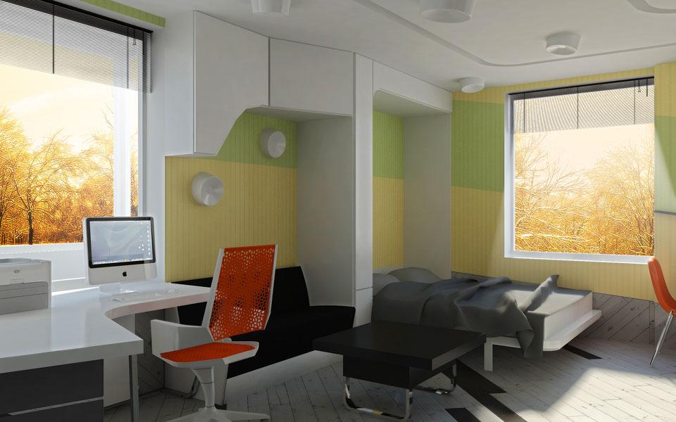 рабочий стол и зона для сна в студии