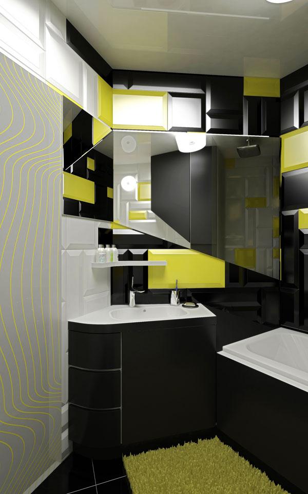 интерьер черной ванной для студии