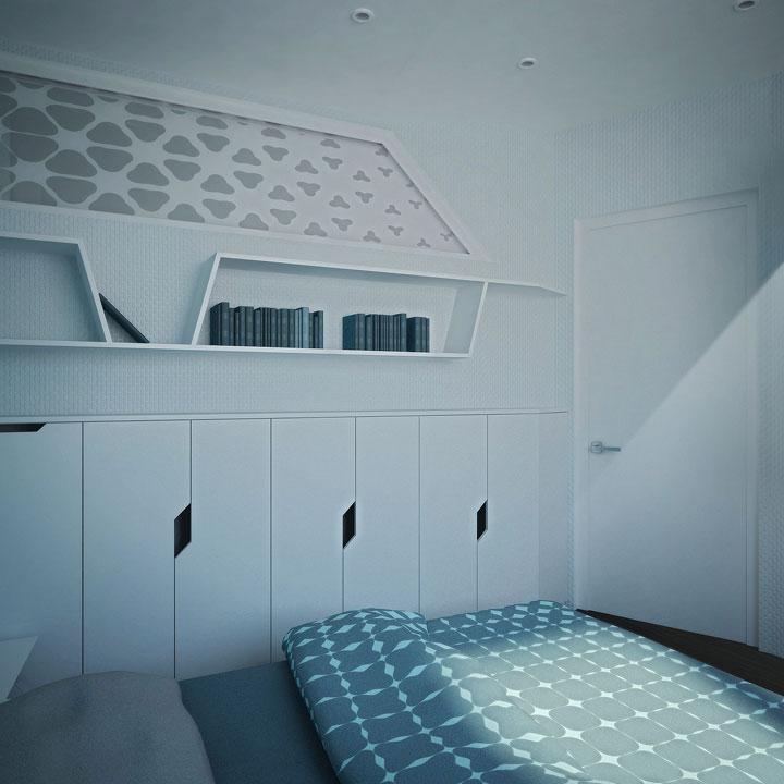книжные полки и концепт шкафы в спальне