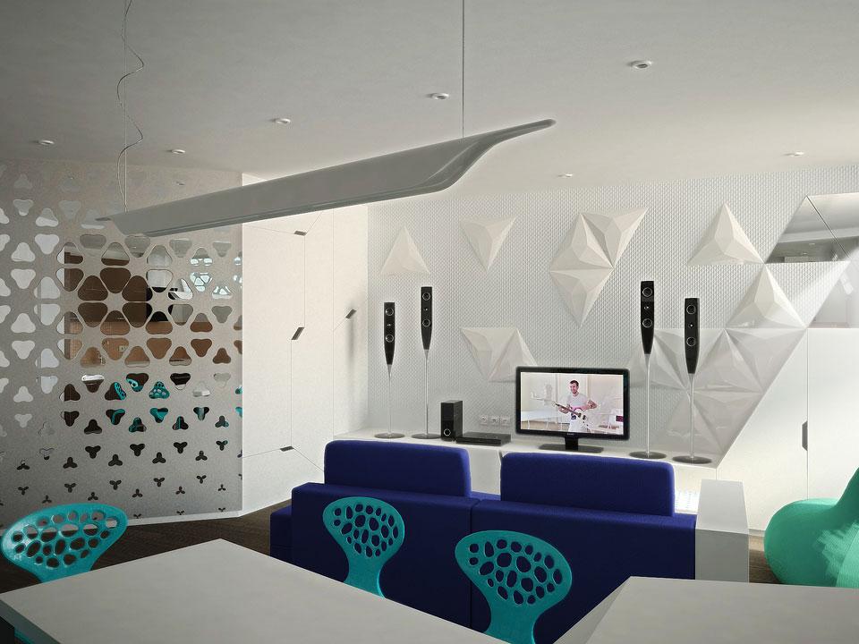 пространство гостиной в интерьере опенспейса