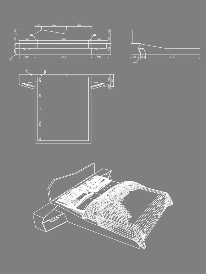 чертеж кровати: проекции и перспектива