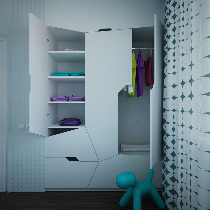 дизайн футуристического шкафа в спальне