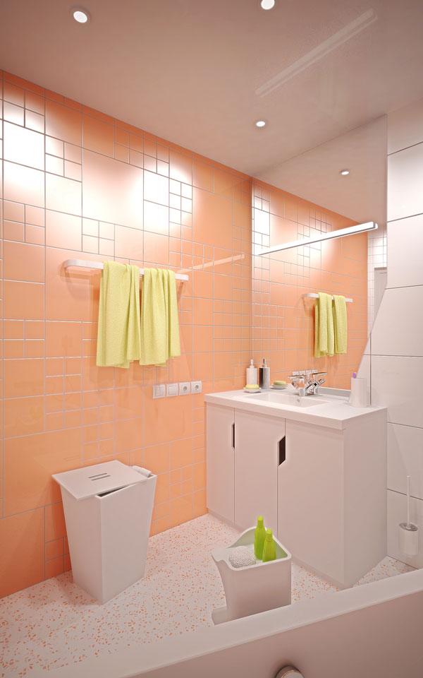 дизайн ванной: умывальник с зеркалом и тумбочкой