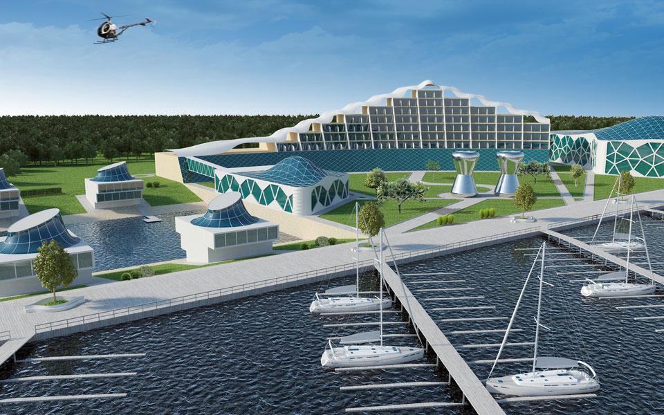 архитектура отельного центра: яхтклуб с аквапарком