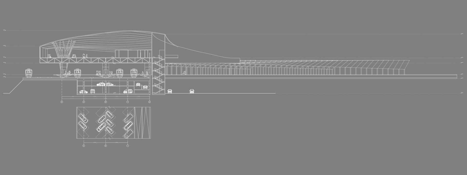 архитектурный разрез - транспортный узел / вокзал