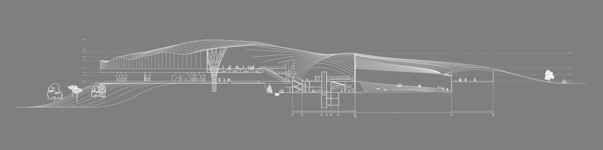 архитектура вокзала - разрез транспортного узла