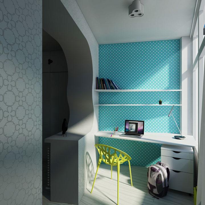 дизайн спальни детской - рабочее место