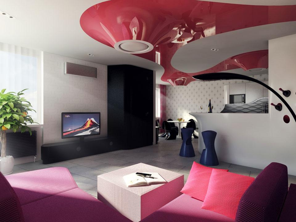 дизайн квартиры с нестандартными натяжными потолками