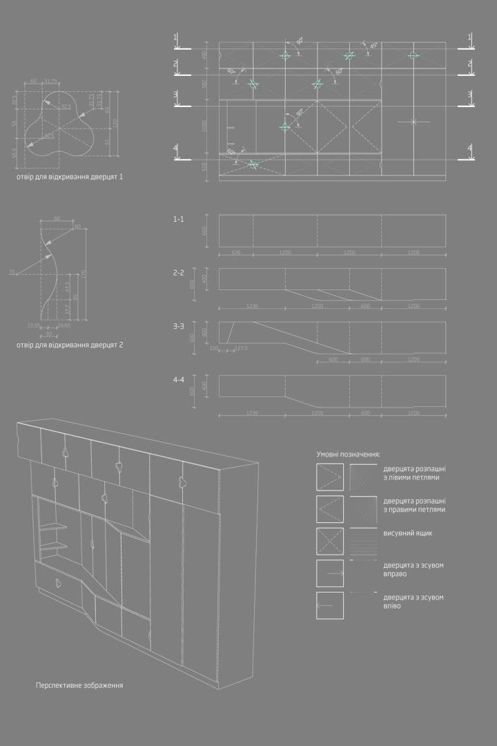 чертеж шкафа для детской. дизайн