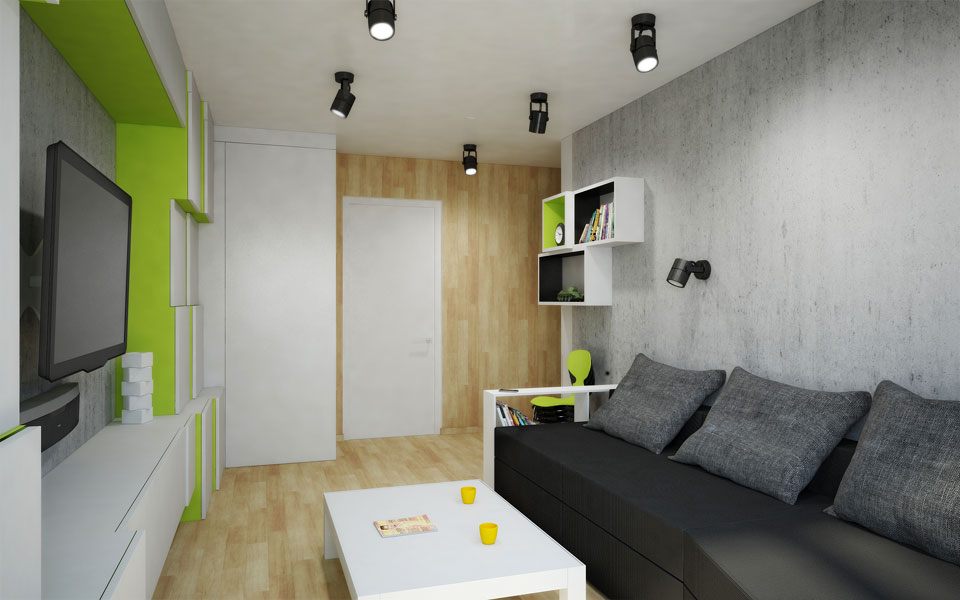 параметрический дизайн проект мебели в интерьере комнаты