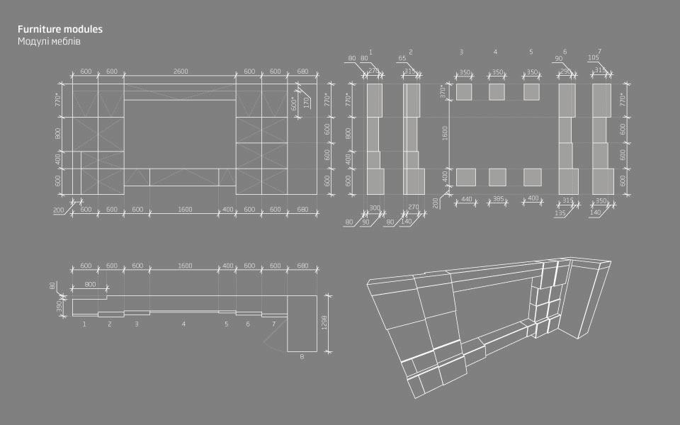 чертежи модульной мебели - мебельная стенка