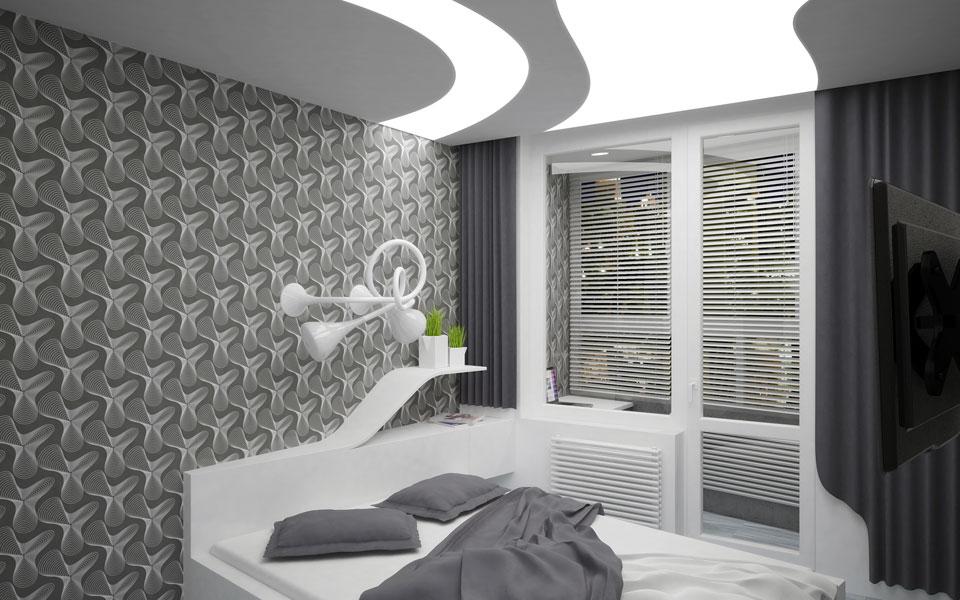 дигитальный интерьер спальни - квартира на урловской