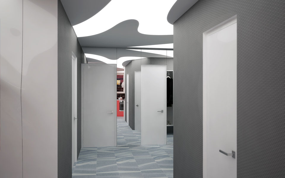 современный интерьер коридора - трехкомнатная кваритра