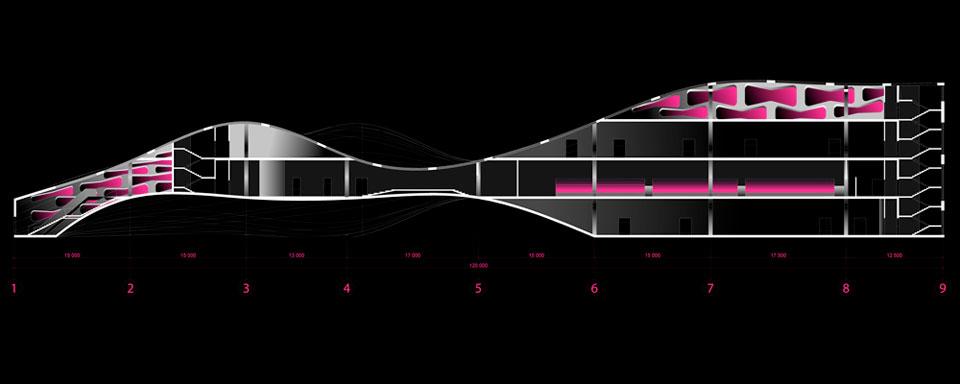 параметрическая архитектура - разрез здания музея