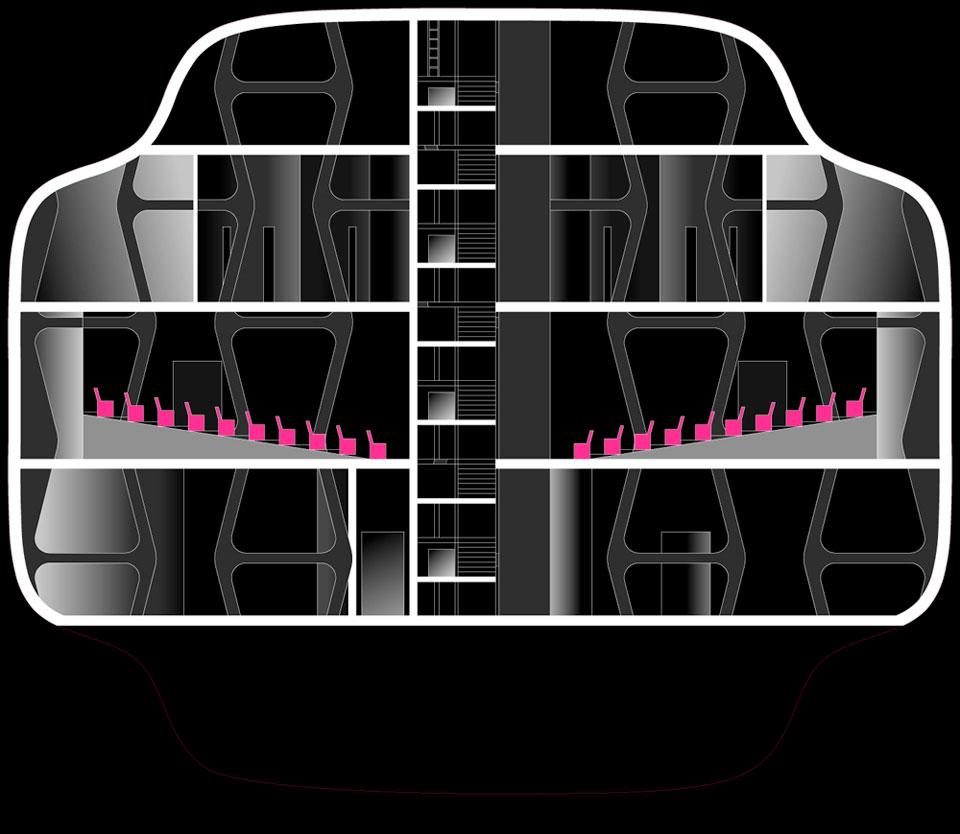 параметрическая архитектура - проект музея, разрез