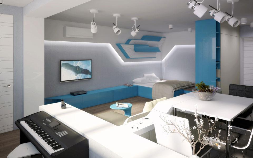 дизайн хрущевки студии - интерьер москва