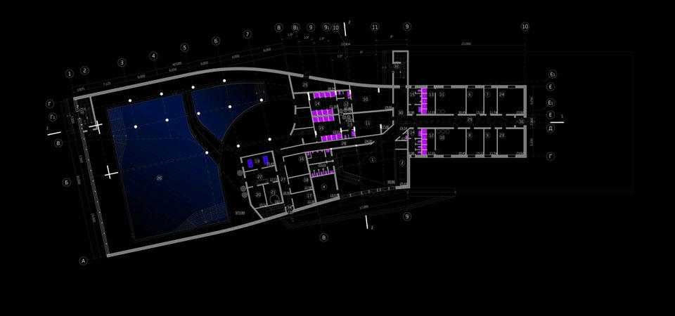 план першого поверху фітнес клубу з басейном