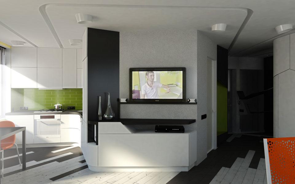 дизайн інтер'єру сучасної квартири-студії