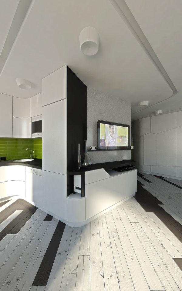 спотворена ширококутна перспектива квартири-студії