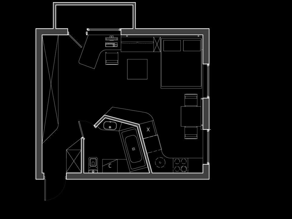 план квартири-студії в хрущовці