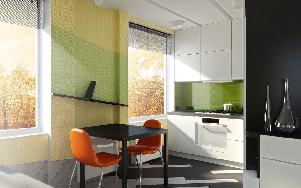 дизайн кухні у відкритому просторі квартири
