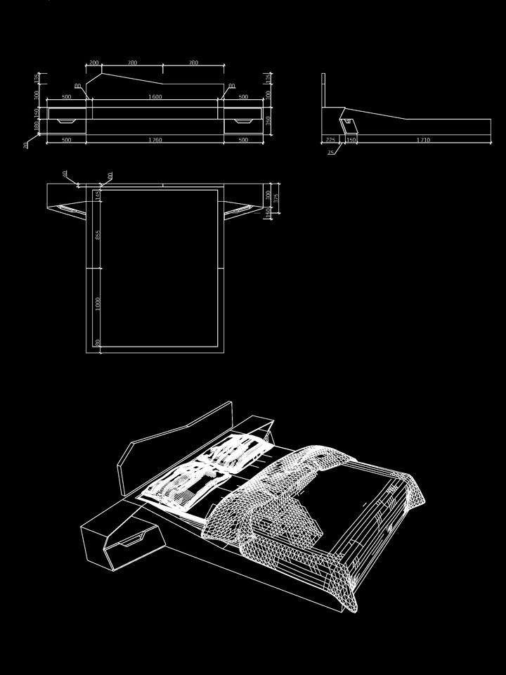 дизайн цільного ліжка з тумбочками