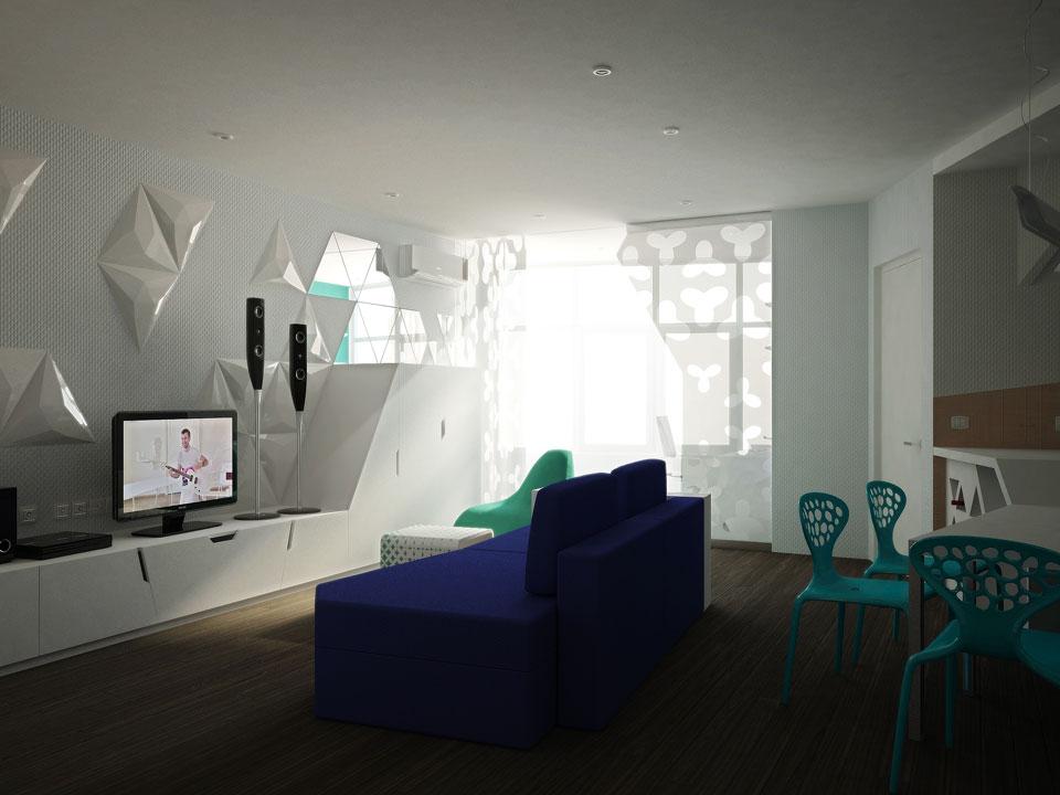 інтер'єр студії в однокімнатній квартирі на ірпінській