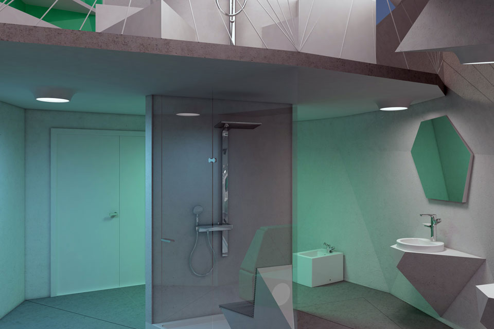 душова кабіна по центру ванної кімнати