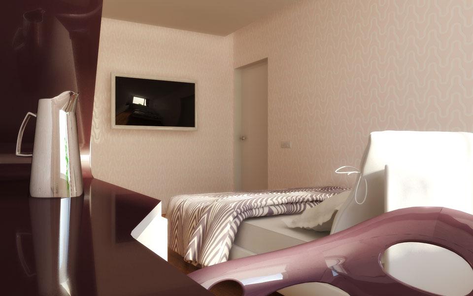 ліжко з телевізором в інтер'єрі спальні